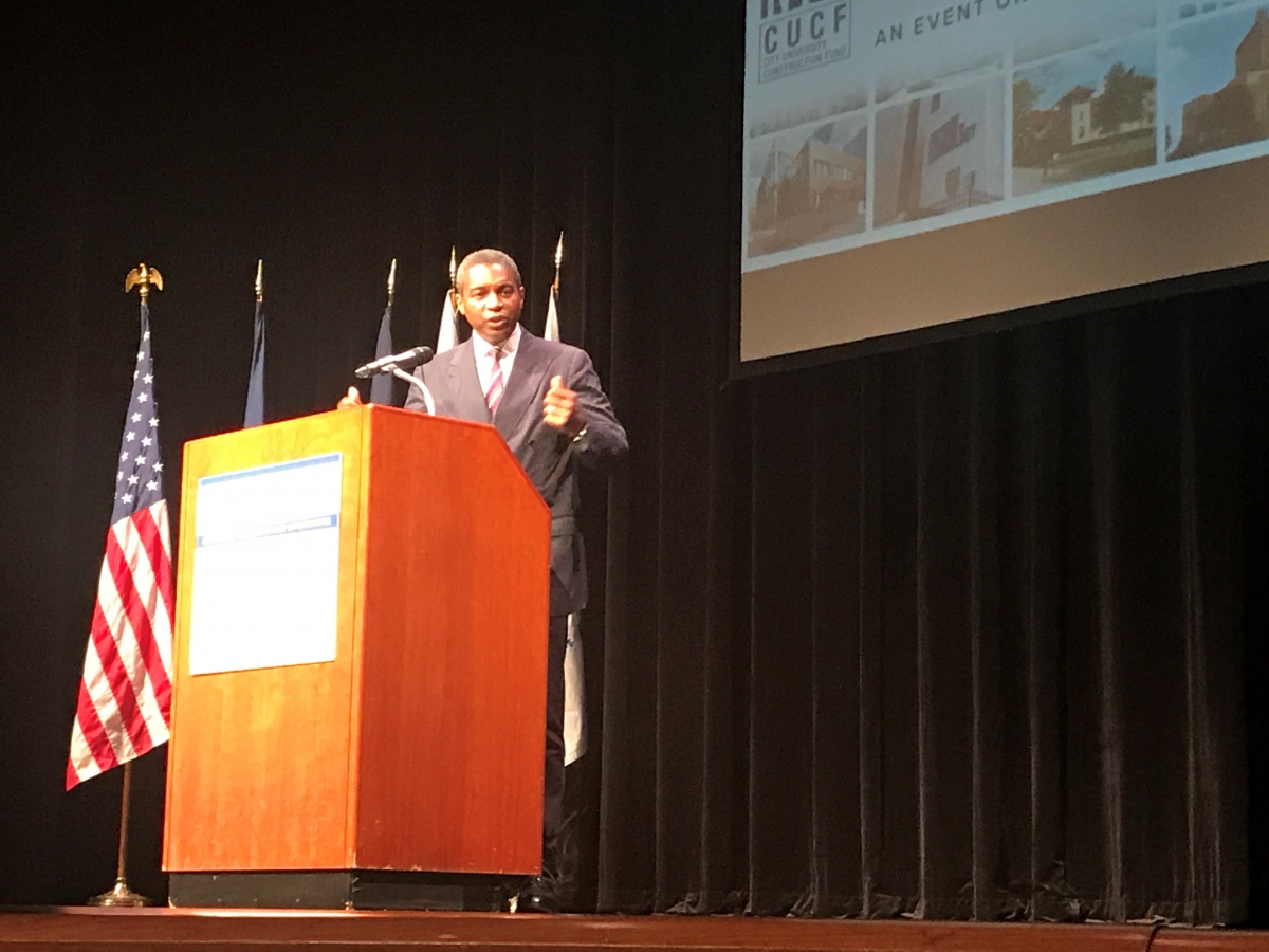 DASNY President & CEO Gerrard Bushell speaking at CUNY/CUCF Contract Opportunities Conference.
