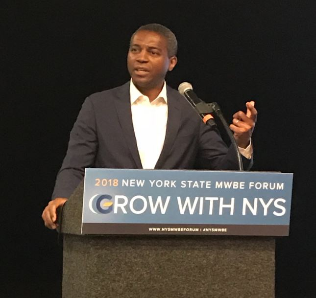 Dr. Gerrard P. Bushell delivers remarks at 2018 NYS MWBE Forum in Albany